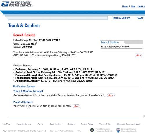Service at USPS: USPS - Track & Confirm